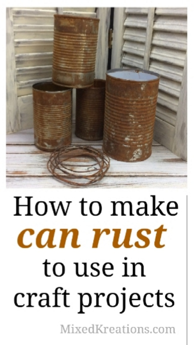 How to make empty cans rust easily with two household ingredients.   How to make rusty cans to use as planters, pencil holders, and more ,Rusty Cans, repurposed, Upcycled cans  MixedKreations.com