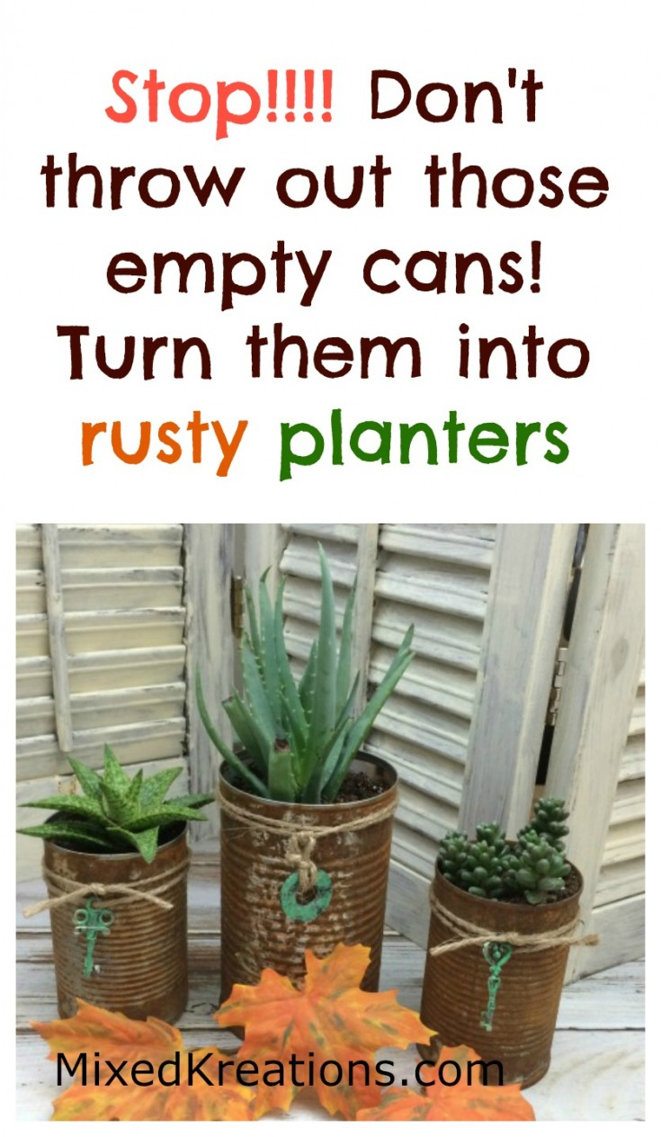 turn empty cans into rusty planters | How to make rusty cans to use as planters, pencil holders, and more #RustyCans #repurposed #Upcycled #cans  MixedKreations.com