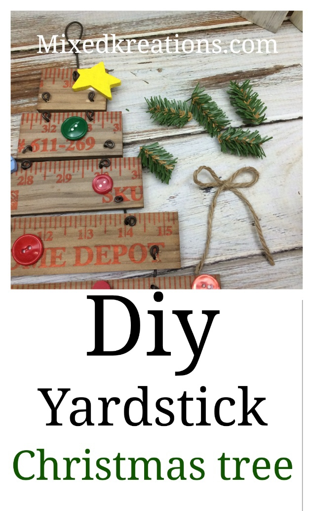Diy yardstick Christmas tree, how to repurpose a wooden yardstick into a Christmas tree for the holidays #repurposed #upcycled #diy #holidaydecor #Christmas Mixedkreations.com