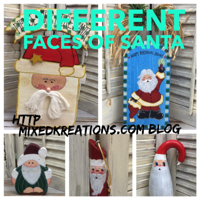 Different Faces Of Santa