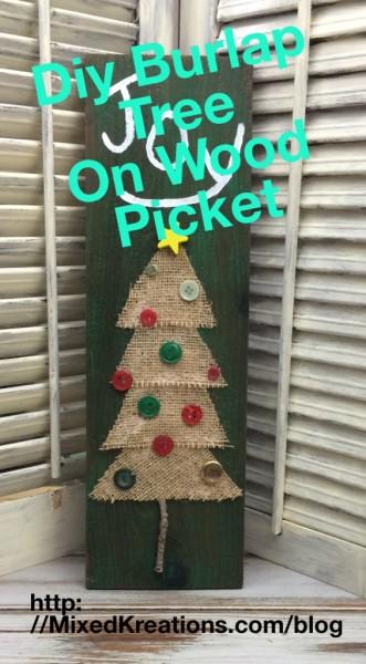 Burlap Tree On Wood Picket