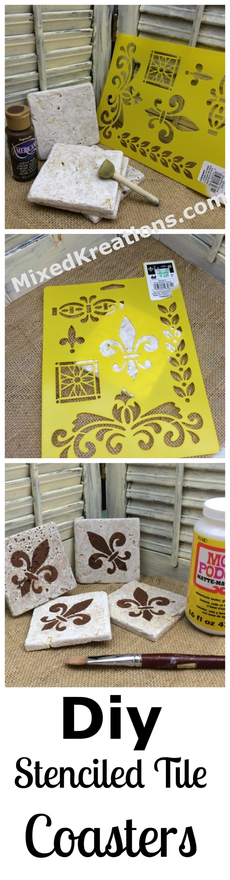 diy stenciled tile coasters