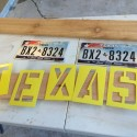 Texas Sign Made From Old License Plates And Cedar Pickets