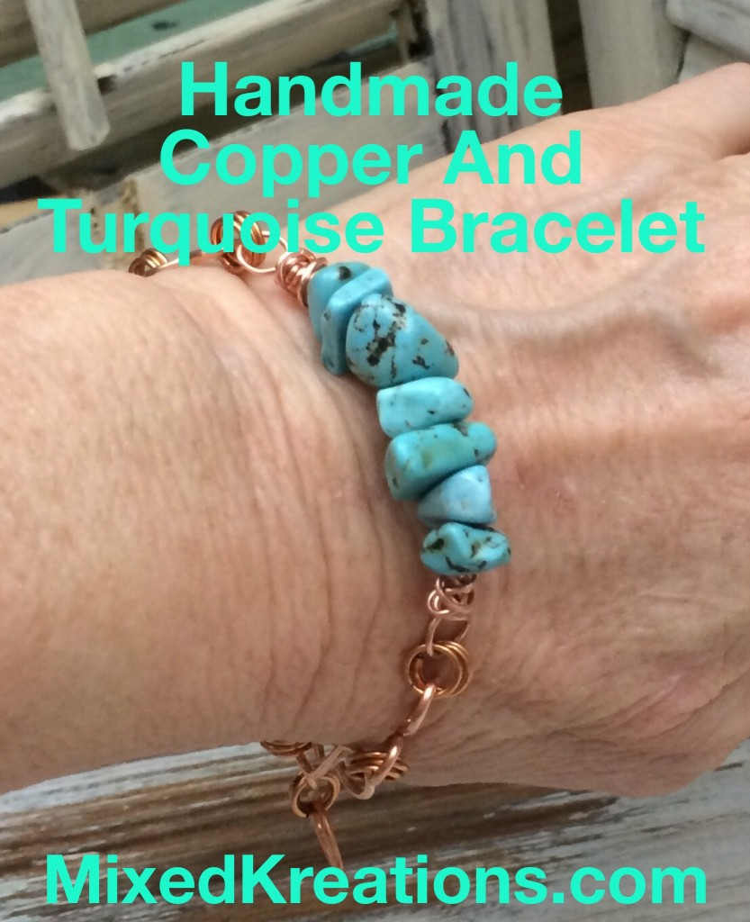 Handmade Copper And Turquoise Bracelet