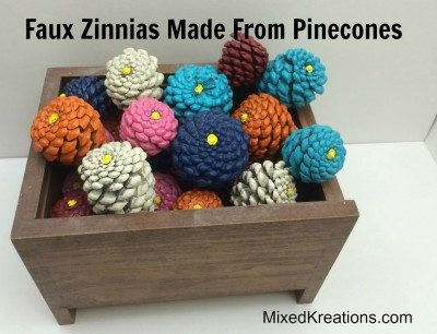 Faux Zinnias Made From Pine Cones