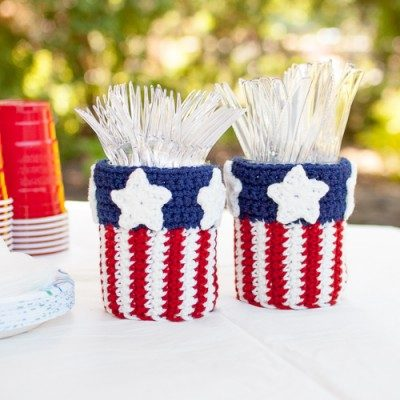 Patriotic-Utensil-Caddy-Crochet-Pattern