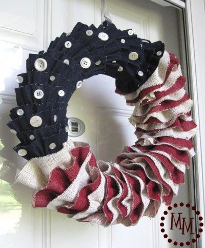 burlap and denim ruffled wreath