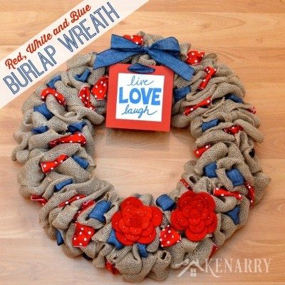 red, white, blue burlap wreath