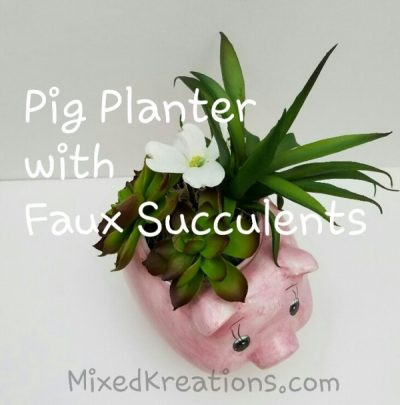 Pig Planter With Faux Succulents