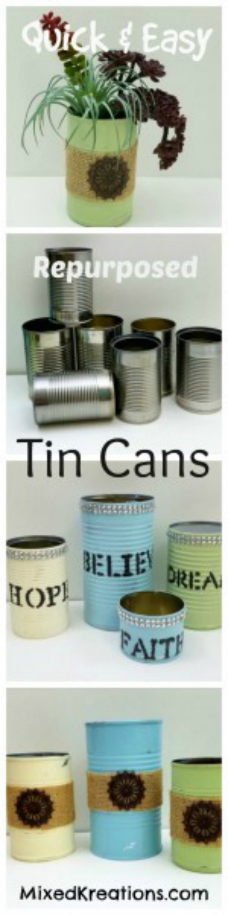 repurposed tin cans