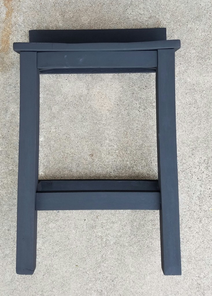 repurposed chair with black chalk paint