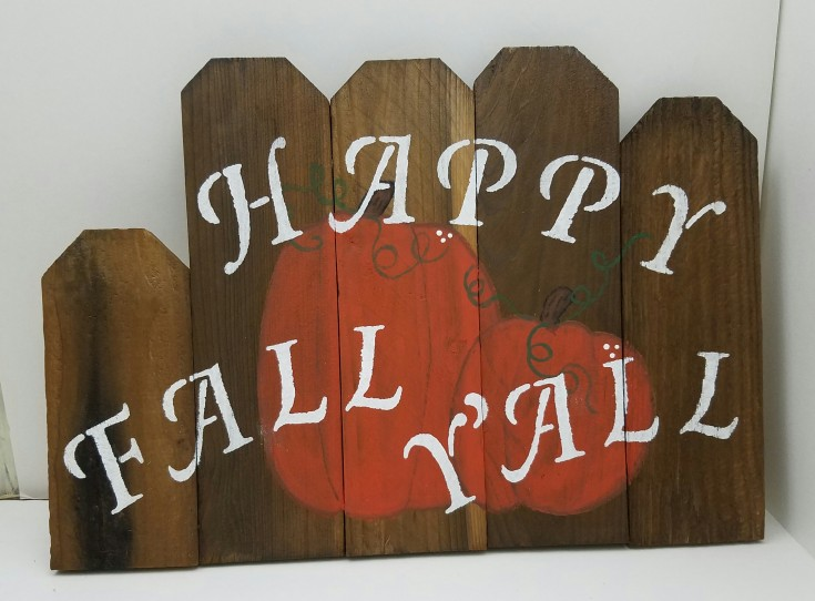 Happy Fall Y'all Cedar Pickets sign