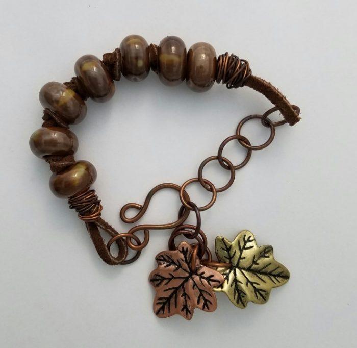 9 Weeks Til Christmas Gift List - Ceramic and Leather Leaf Charm Bracelet