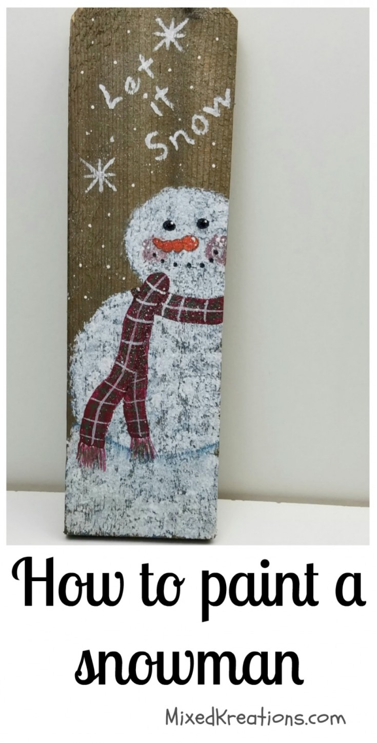 how to paint a snowman on a cedar picket
