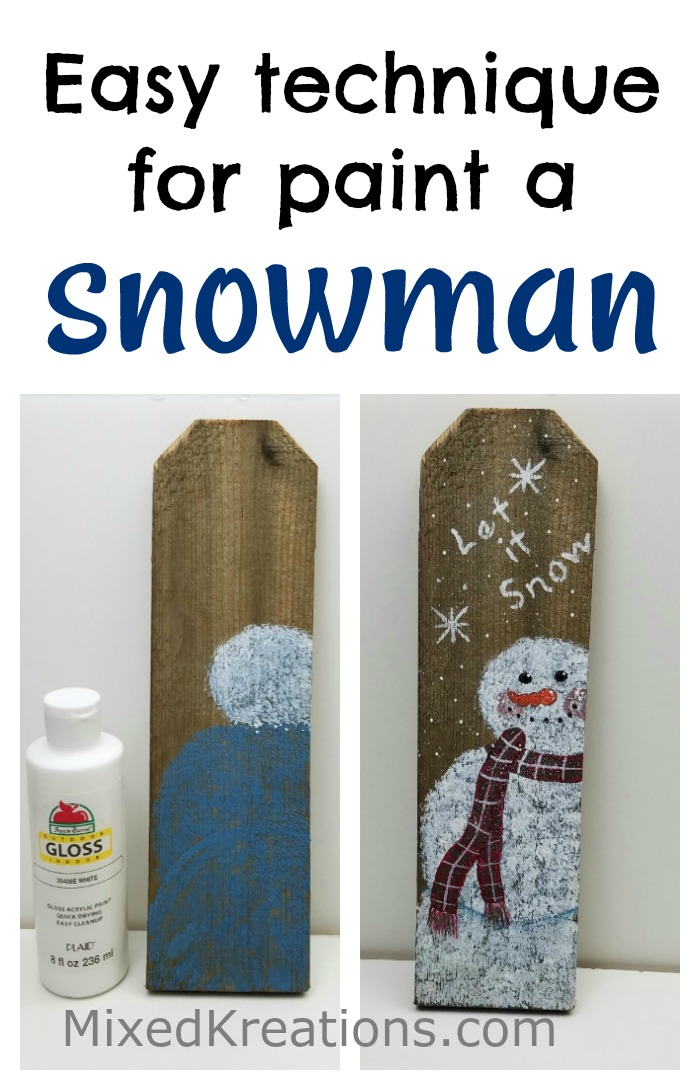 How to paint a snowman, easy paint technique for painting a snowman MixedKreations.com
