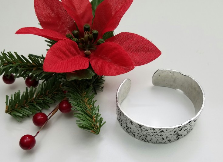 Christmas gift list hand formed aluminum bangle