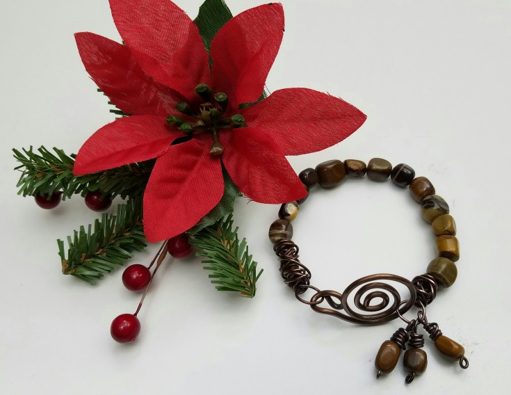 1 Weeks Til Christmas Gift List - copper and zebra jade bracelet