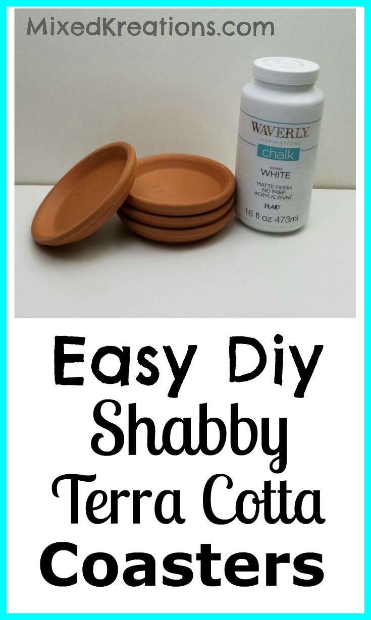 How to make terra cotta coasters | easy diy terra cotta coasters | shabby terra cotta coasters #DiyCoasters #repurposed #upcycle MixedKreations.com