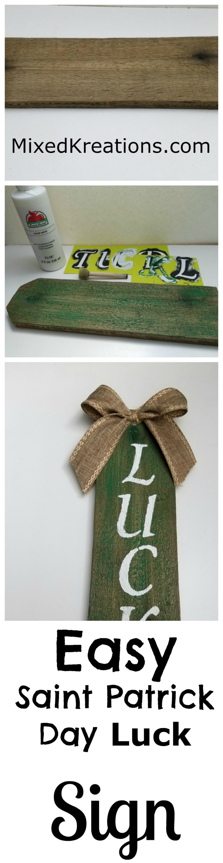 Easy Saint Patrick Day Luck Sign Pinnable