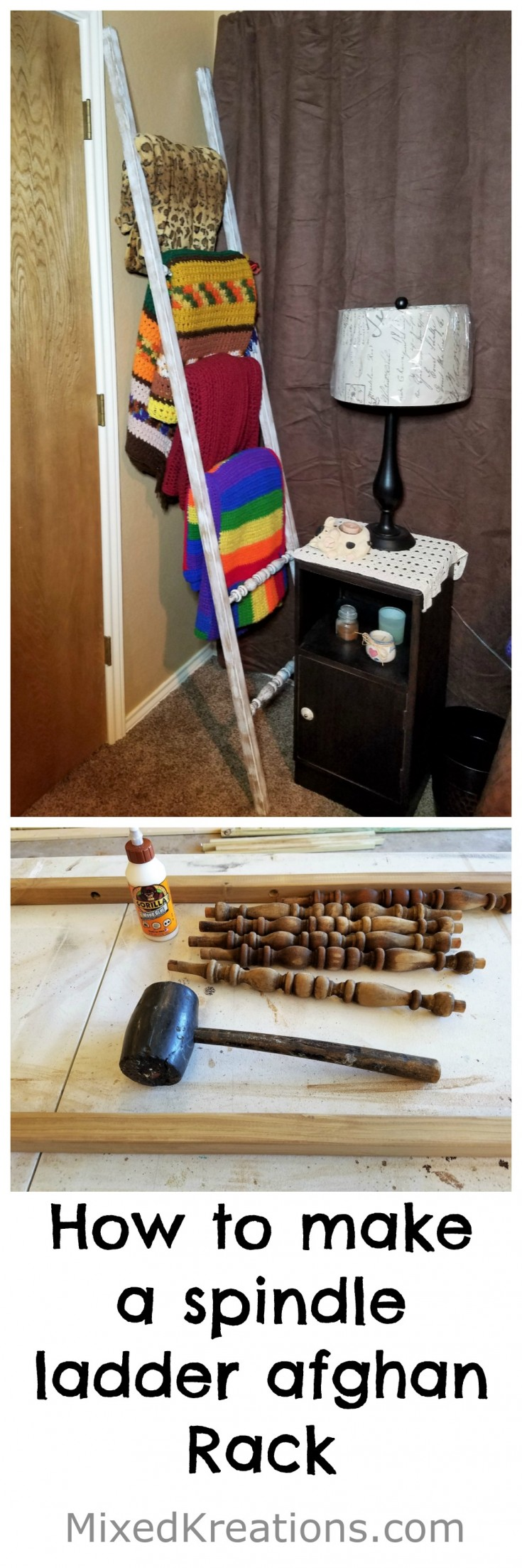 diy spindle ladder afghan rack