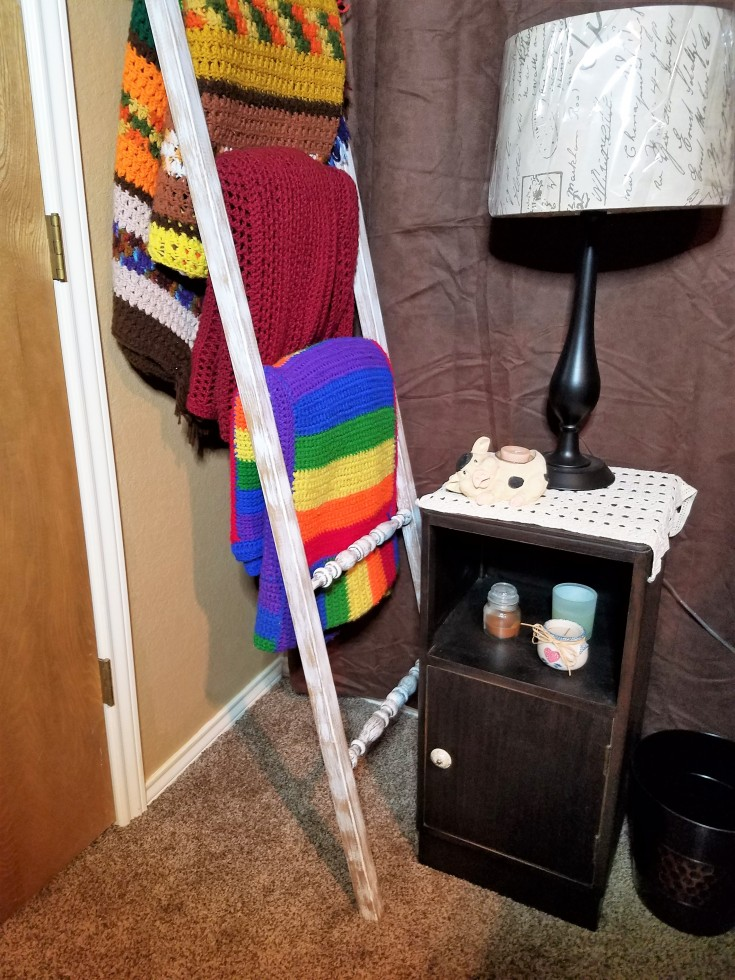 spindle ladder afghan rack