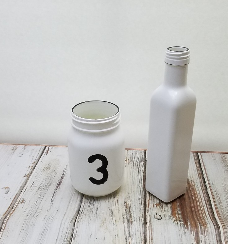 milk glass bottle and jar