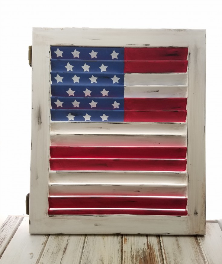 2-sided American Flag on a Shutter