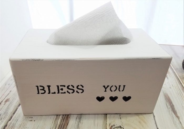 How to Paint a Farmhouse Style Tissue Box Cover – Bless You