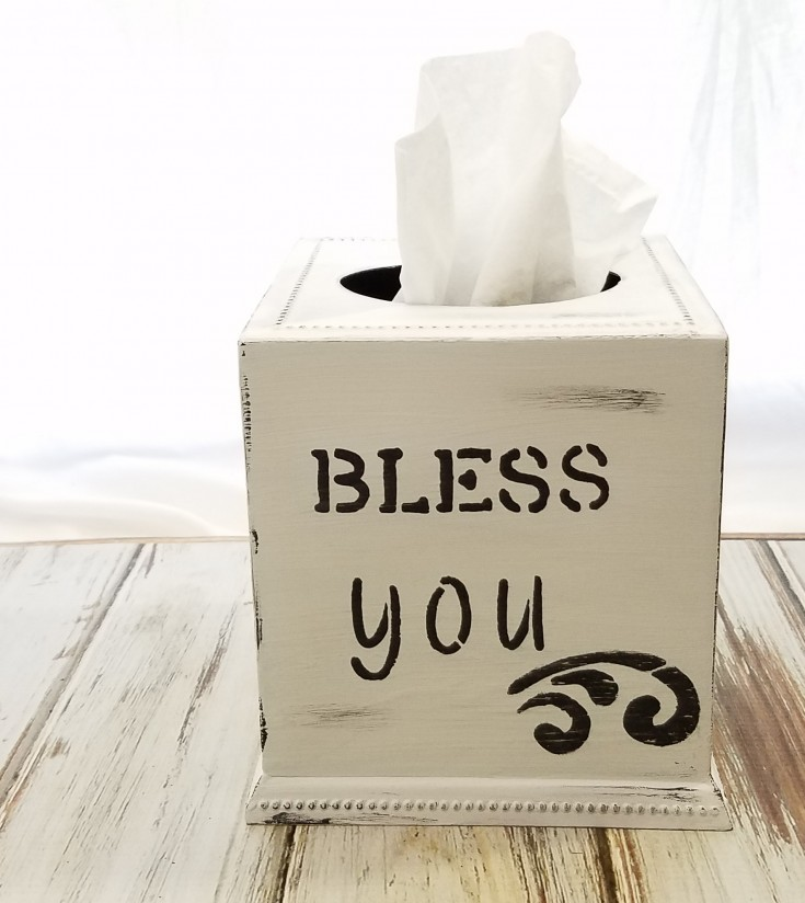 How To Paint A Farmhouse Style Tissue Box Cover Bless