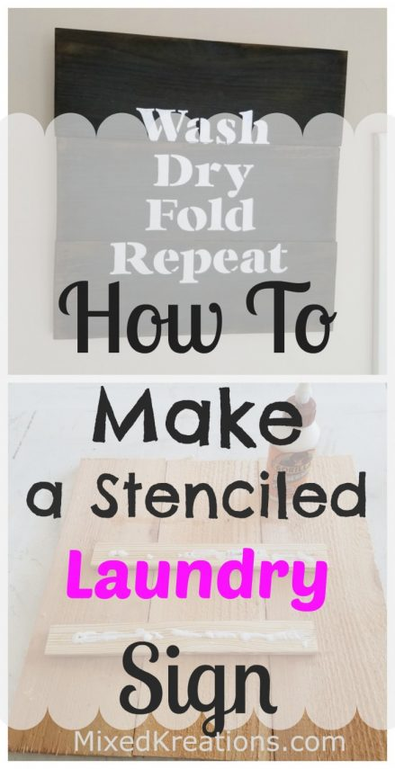 how to make a stenciled laundry sign out of a fence picket.