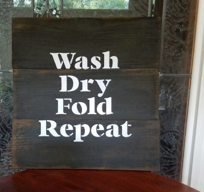 Stenciled Sign for The Laundry Room