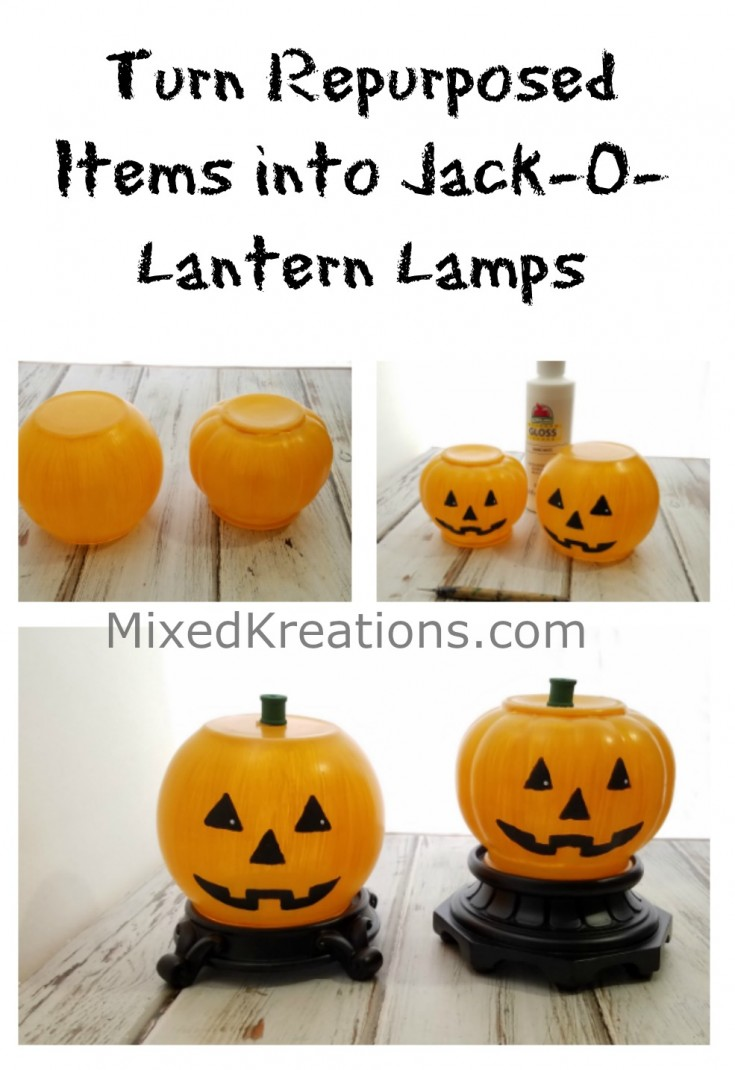 Turn Repurposed Items into Jack-O-Lantern Lamps