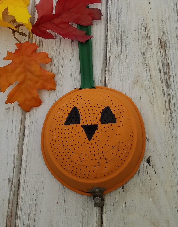 Metal Vintage Strainer Jack-O-Lantern : Home Decor