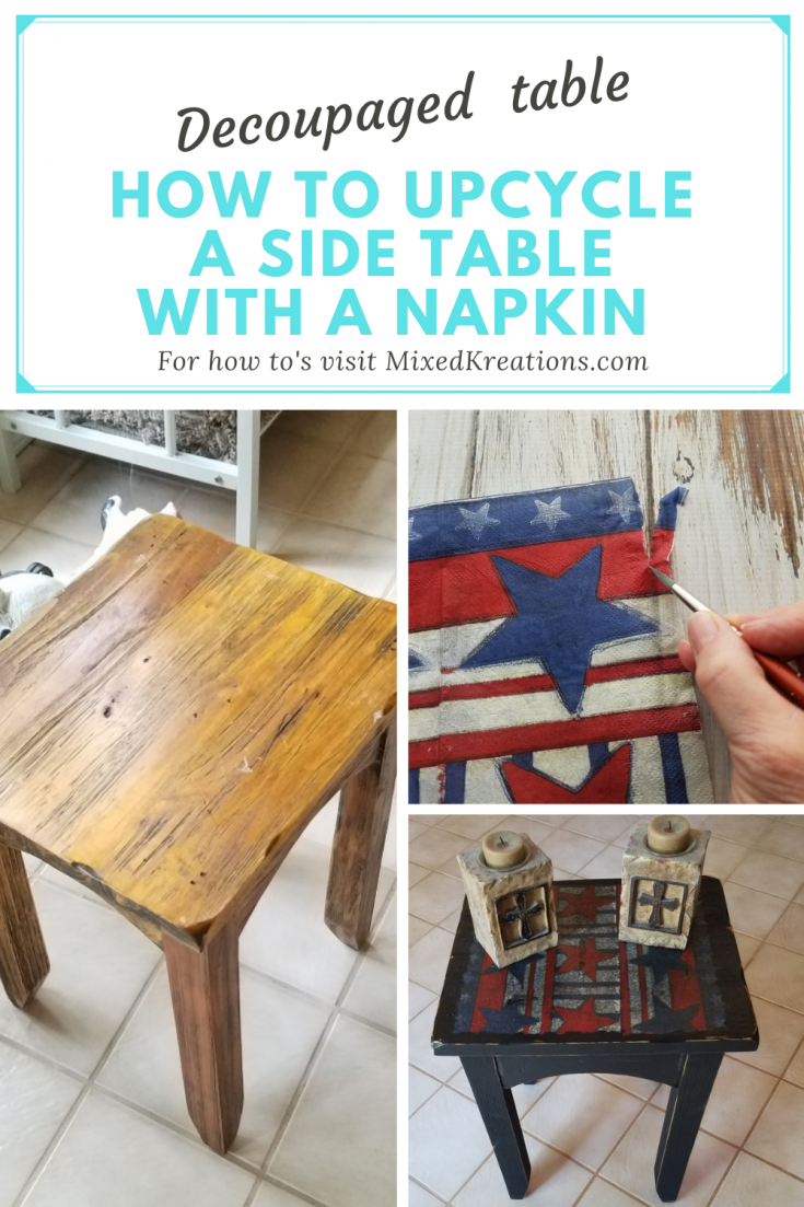 Decoupaged side table with a napkin
