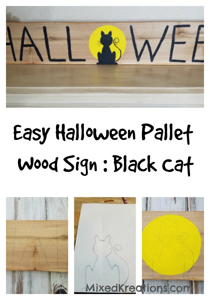 Easy Halloween Pallet Wood Sign Black Cat