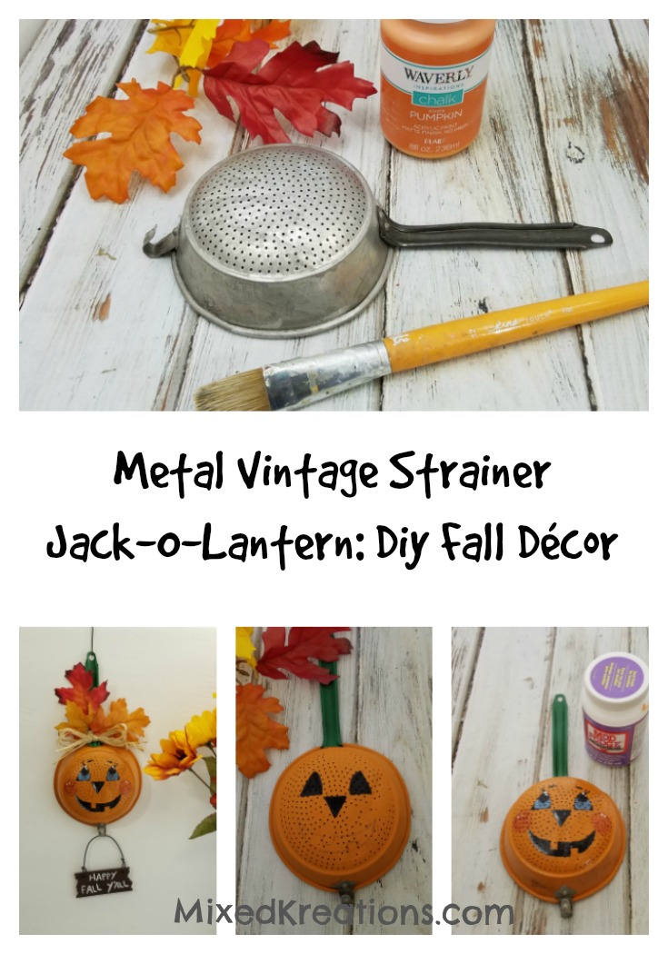 How to make a Vintage Strainer Jack-O-Lantern | Diy Fall Décor #HolidayDecor #HomeDecor #JackOLantern #repurposed #upcycled #diy MixedKreations.com