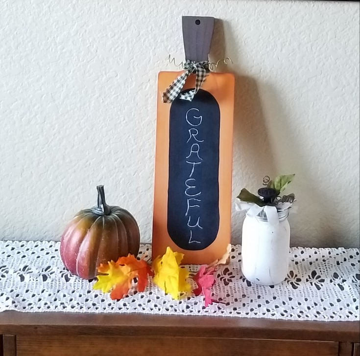 Chalkboard Pumpkin from a Cutting Board