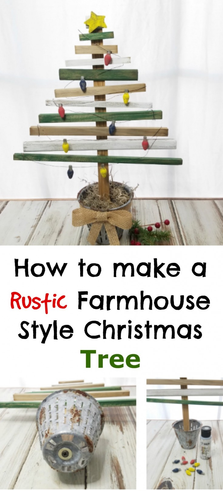 Rustic farmhouse style Christmas Tree