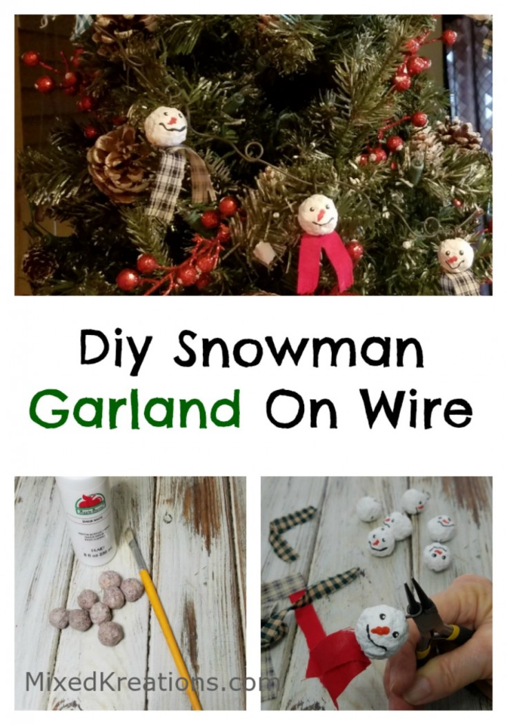 diy snowman garland on wire | how to make snowman garland | diy holiday decor #diy #garland #holidaydecor MixedKreations.com