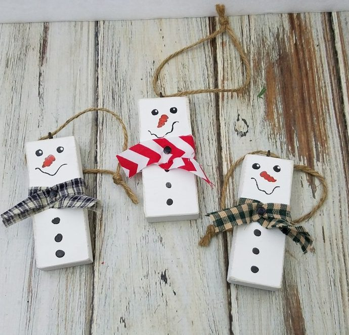 scrap wood snowmen ornaments