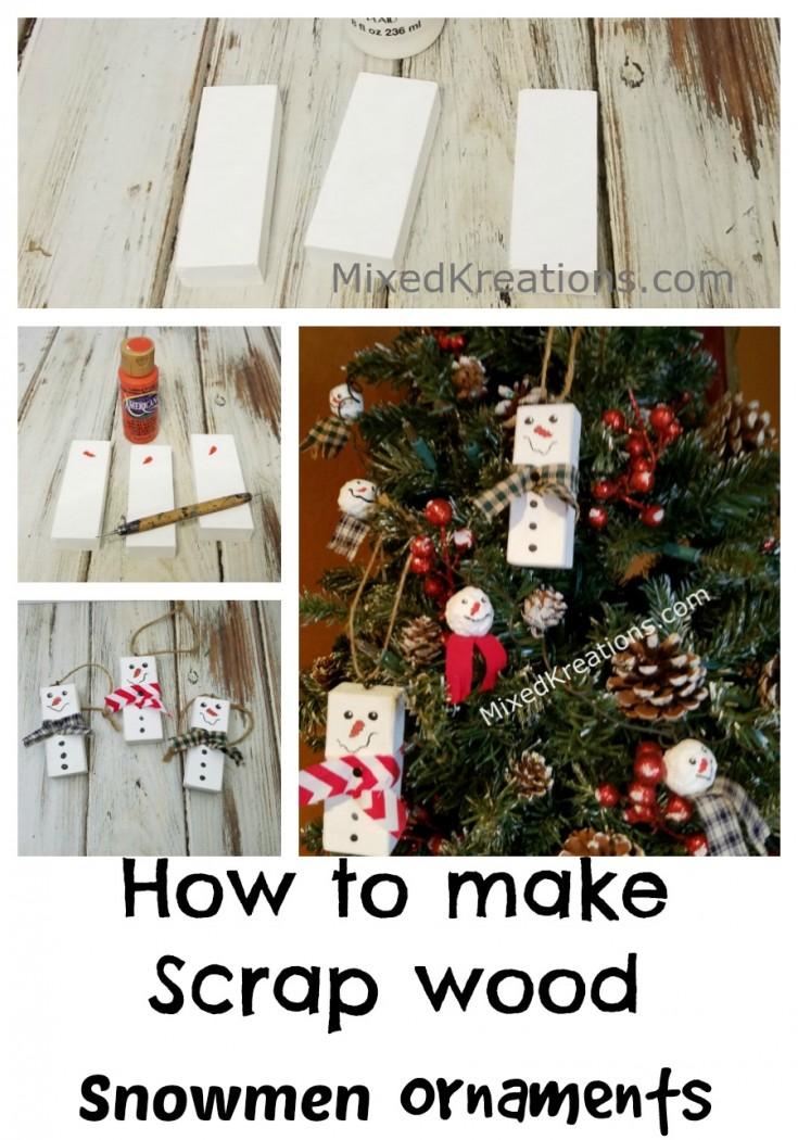 Diy Scrap Wood Snowmen Ornaments