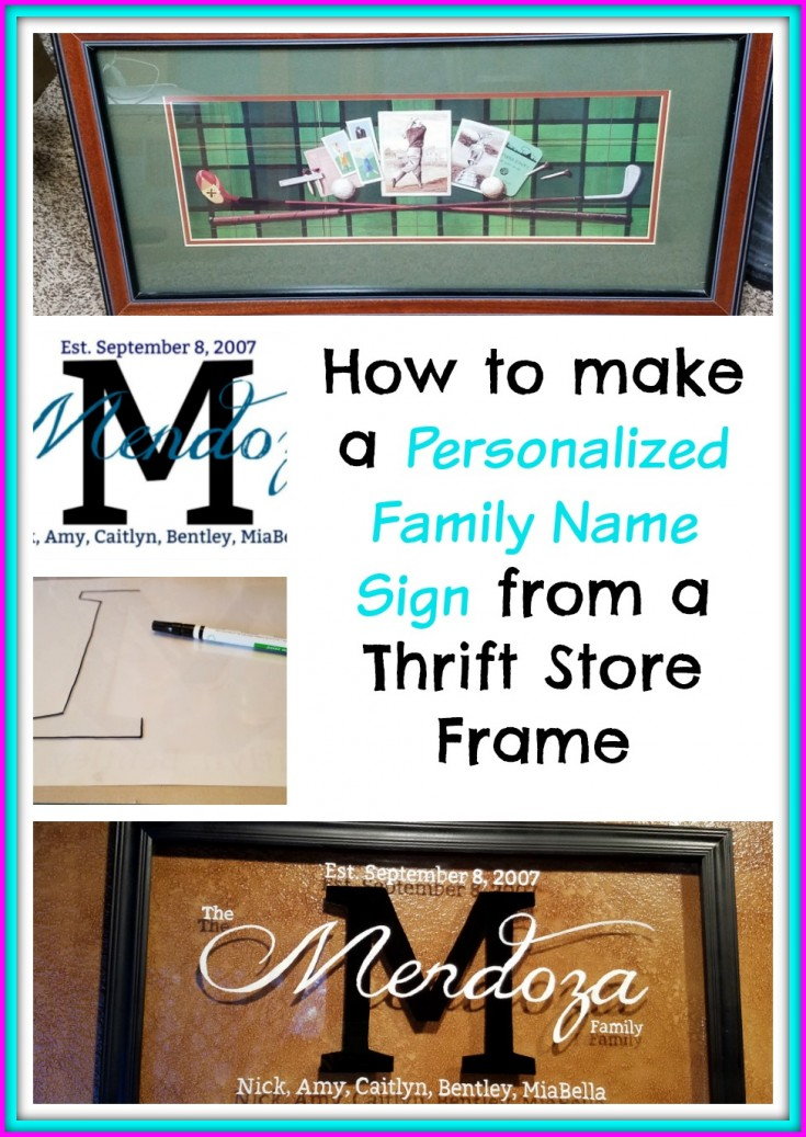 How to make a Personalized family name sign | Repurposed picture frame into a family name sign #DiySign #PersonalizedFamilyNameSign #repurposed MixedKreations.com