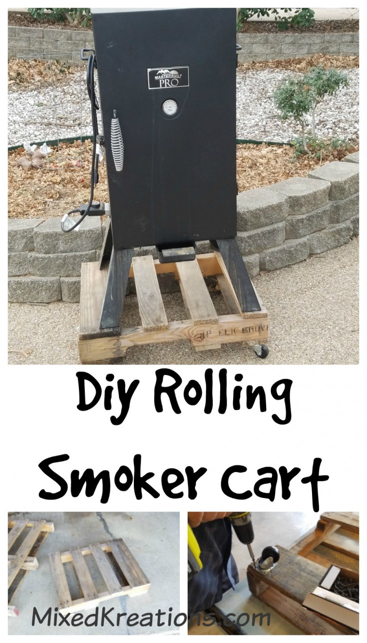 How to make a rolling smoker cart out of a wooden pallet | repurposed pallet cart #Repurposed #upcycled #pallet #diycart MixedKreations.com