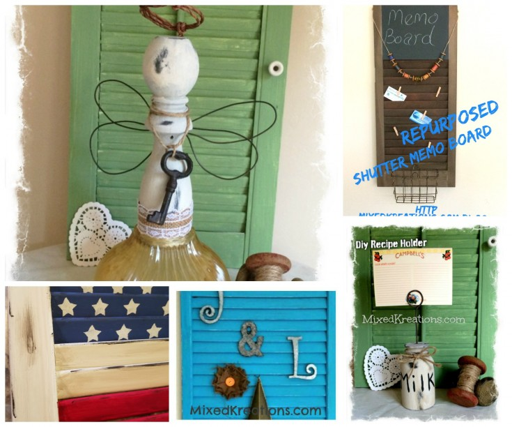 How to repurposed shutters & spindles / diy shutter and spindle projects #repurposed #upcycled  #spindles #shutters #diy MixedKreations.com
