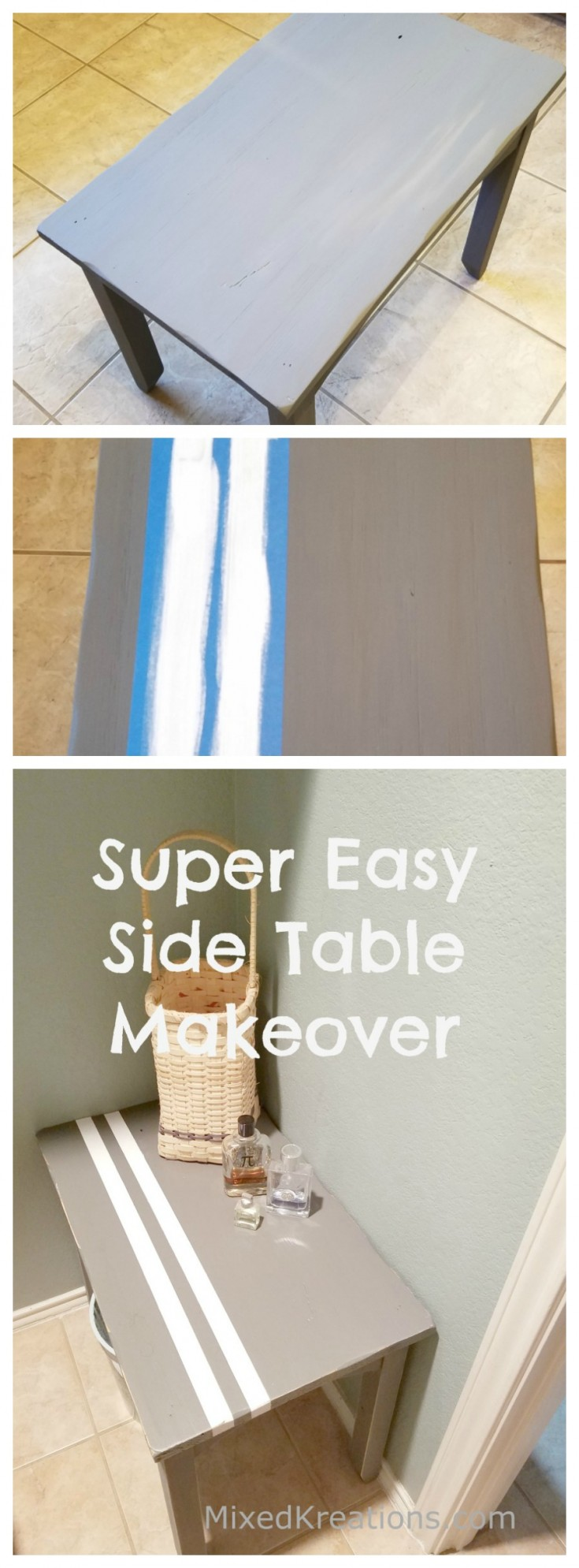 super easy side table makeover / how to makeover a small table / diy side table makeover #UpcycleFurniture #upcycledtable #makeover #upcycling MixedKreations.com