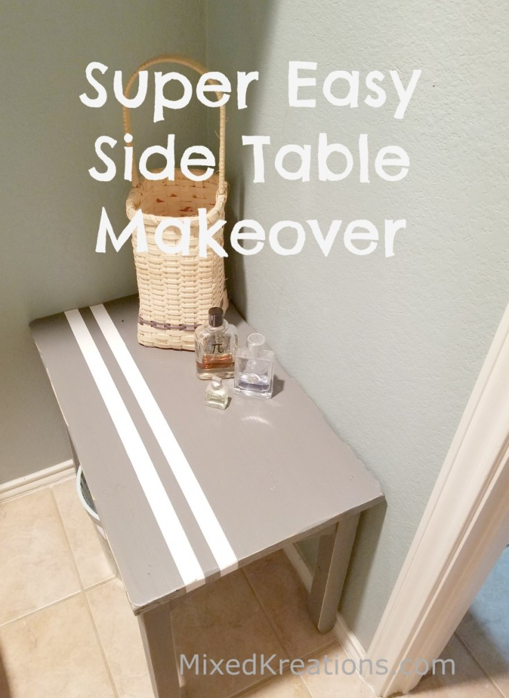 Super Easy Side Table Makeover / how to makeover a wooden side #FurnitureMakeover #upcycled MixedKreations.com