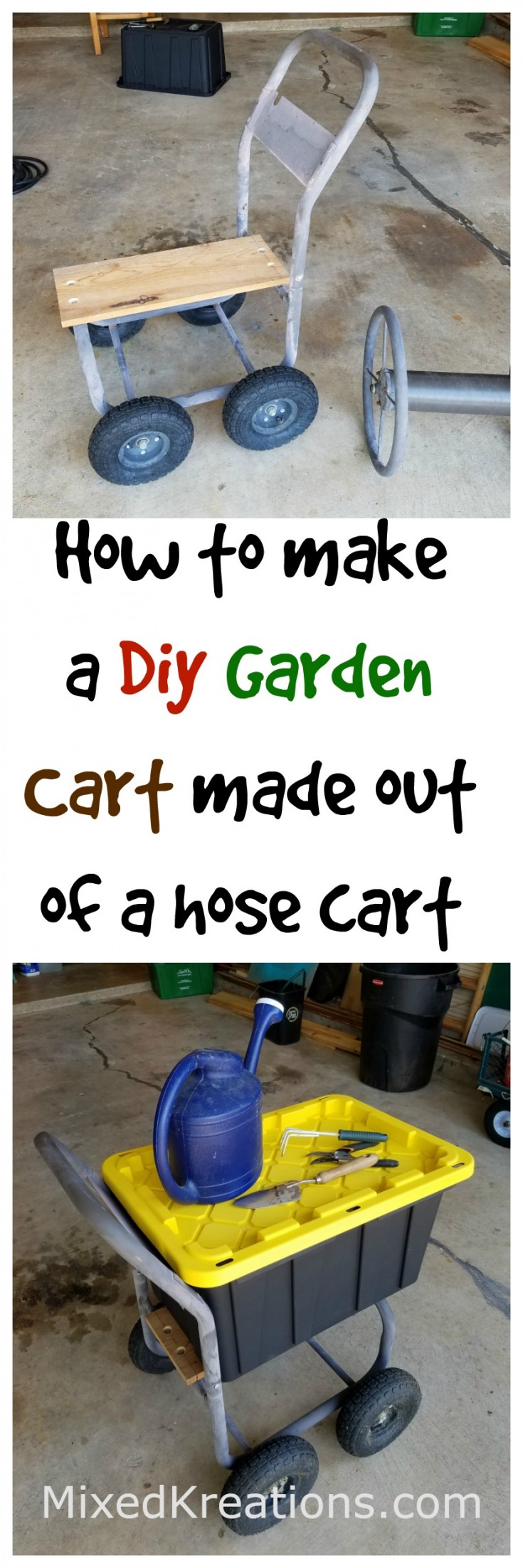 How to make a garden cart out of a hose cart | diy garden cart | repurposed hose cart | upcycled hose cart #Diy #GardenCart #Repurposed #Upcycled Mixedkreations.com