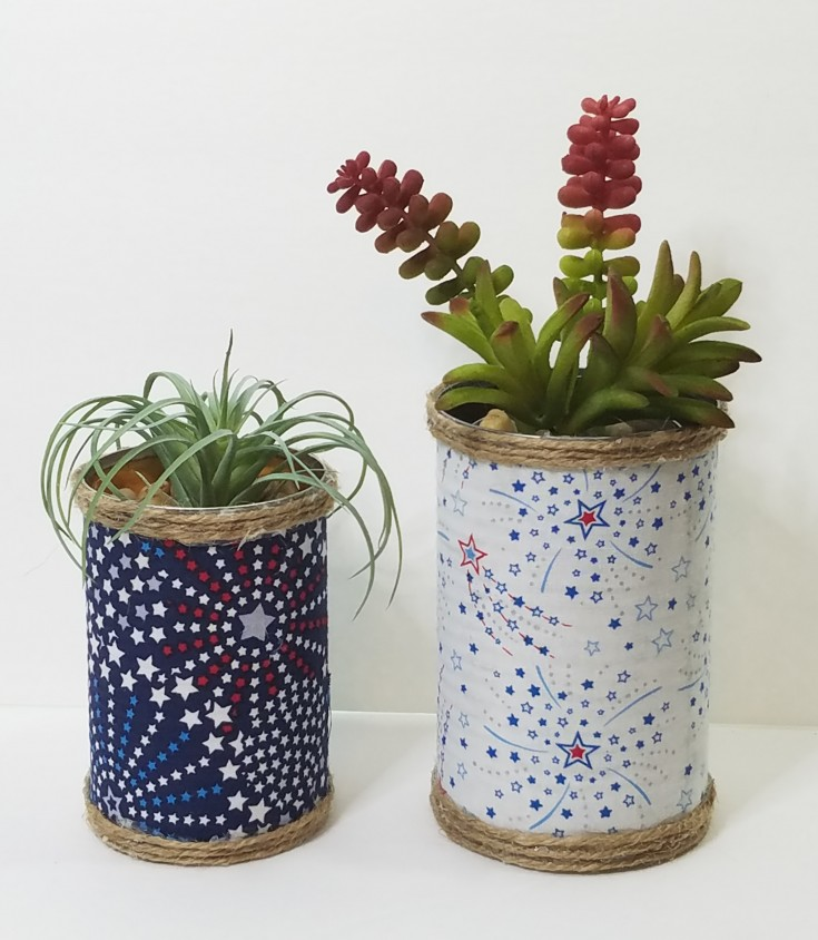 Diy Patriotic Succulent Tin Can Planters | How to repurpose a can into a patriotic planter #Repurpose #upcycled #TinCan #holidaydecor #PatrioticDecor MixedKreations.com
