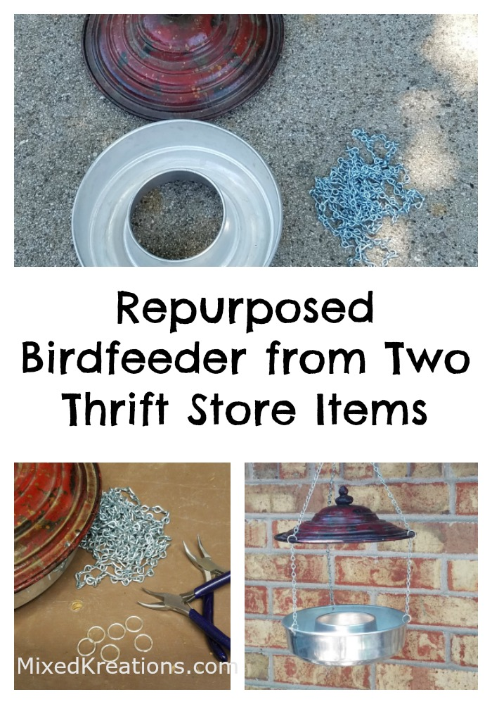 Repurposed Birdfeeder from Two Thrift Store Items how to make a birdfeeder #Repurposed #ThriftStore #Upcycled MixedKreations.com