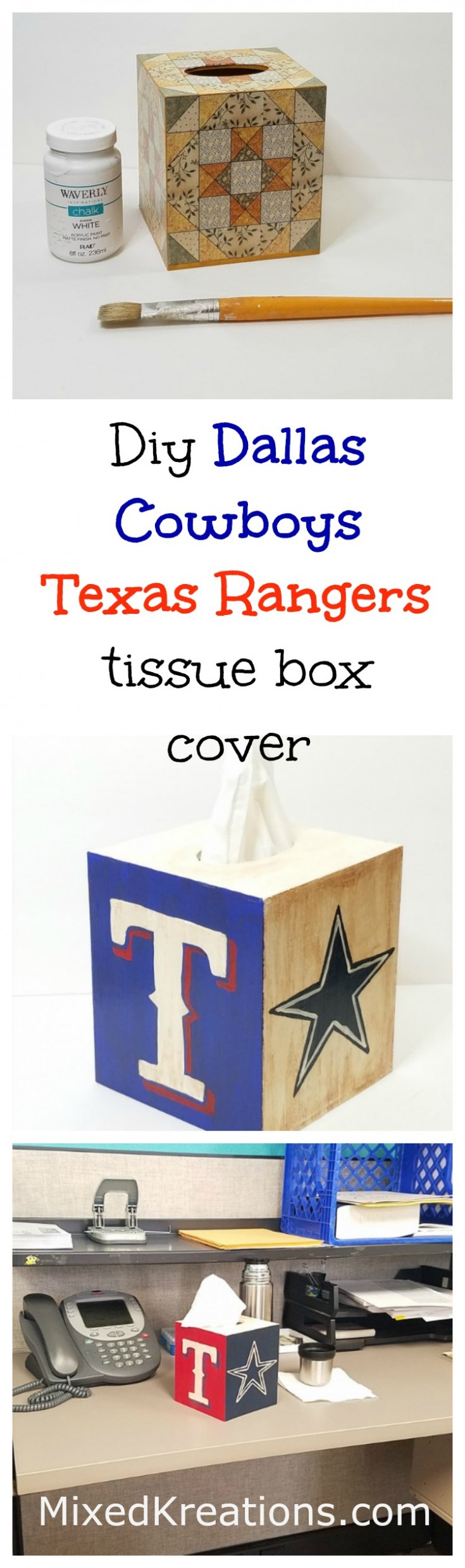 diy Dallas Cowboys Texas Rangers tissue box cover | How to makeover a tissue box cover #Upcycle #TissueBoxCover #ThriftStoreMakeover MixedKreations.com